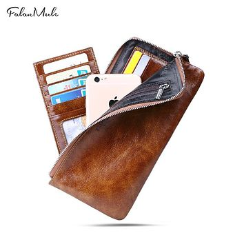 Purse Wallet Genuine Leather Wallet Men Clutch Bag Male Wallet Slim Wallet Coin Purse Phone Holder Purse Men Purse