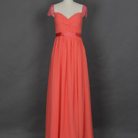 Beaded Cap Sleeves Coral Long Prom Dress, Red Prom Dress