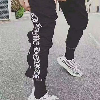 """Chrome Hearts"" Women Men Casual Personality Letter Print Leisure Pants Trousers I-JJ-LHYCWM"