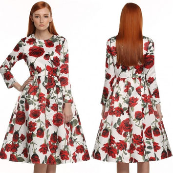 Women Long Sleeve Retro Vintage Style 1950's Floral Spring Garden Party Cocktail Picnic Dress
