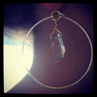 Polished quartz crystal point shoulder duster hoop earrings