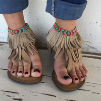 Natural Sandals with Beads and Fringe