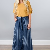 Striped Chambray Skirt
