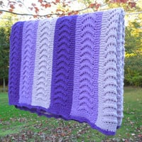 "Vintage crochet blanket afghan throw in shades of purple lavender lilac 67"" x 55"""