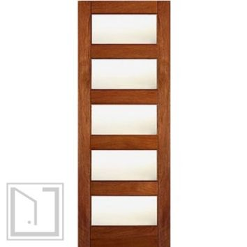 Contemporary Exterior Single Door, Mahogany, Matte Low-E Glass