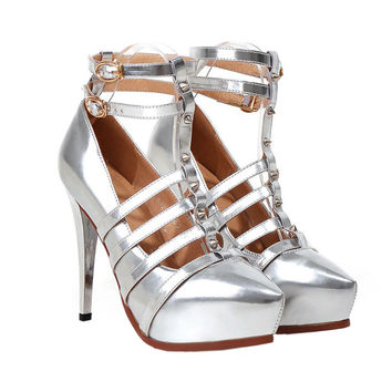 Plus Size Platform Thin Shoes Night Club Dancing   silver