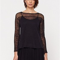 Bateau Neck Box-Top in Sheer Hemp Lace