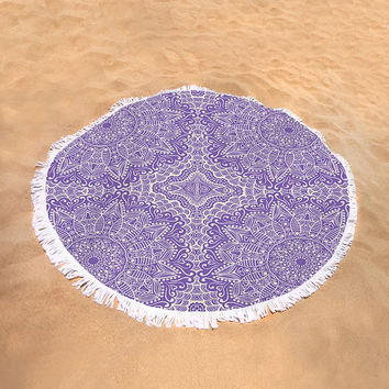 Round Beach Towel Purple Lilac Mandala Pattern Boho Bohemian Large Beach Blanket India Indian Pattern Violet Purple