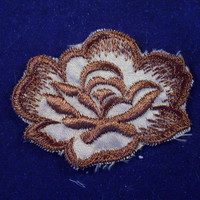 Vintage Sew On Patch Brown Flower Embroidered 1970's Set of 2