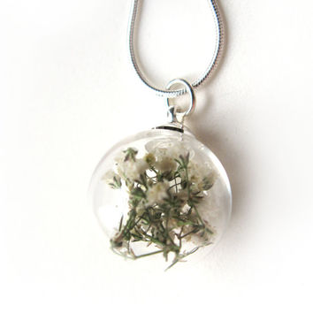 Baby Breath Glass Globe Pendant Necklace - tiny flowers in glass orb, Pressed Flower Jewelry - Flower Pendant - Gift for Her