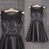 Black Satin Lace Short Bridesmaid Dresses, Fashion Prom Dress, Party Dresses, Evening Dresses, Wedding Party Dresses,Cocktail Dresses