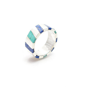 Inlay Ring - Turquoise Inlay Ring - Lapiz Inlay Ring - Sterling Silver Ring Inlay - Mens Wedding Band- Southwest Jewelry - Inlay Jewelry