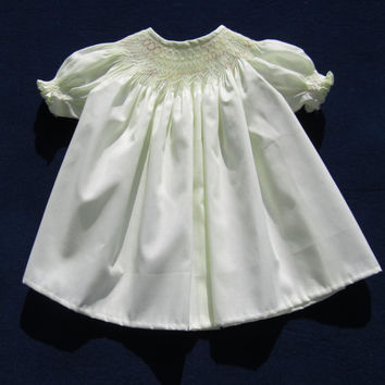 6 Month Pale Yellow Lemon Ice Smocked Baby Dress