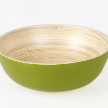 Coiled bamboo footed serving bowls, kiwi
