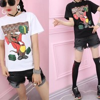 Women Casual Fashion Cartoon Cat Dog Logo Print Short Sleeve T-shirt Top Tee