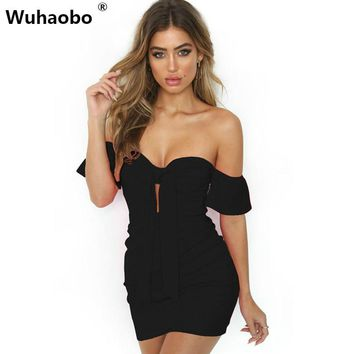 Wuhaobo Sexy Strapless Bandage Women Vestidos Pleated Hollow Out Short Sleeve Mini Dress Night Club Party White Summer Dress