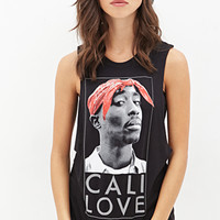 FOREVER 21 Tupac Muscle Tee Black/White