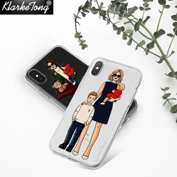 KlarkeTong Cute Fashion Woman Girl Case For iPhone X 8 7 6 6s Plus 5 5s Mama Baby Pattern Transparent Clear Silicone Cover Capa