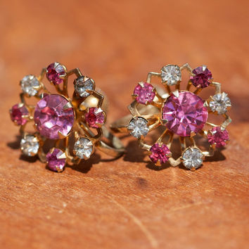 Vintage Earrings Pink and Clear Rhinestone Screw Back