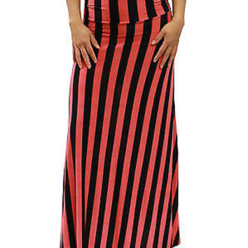 New Sexy Coral & Black Striped Ruched Side Stretch Maxi Long Skirt Size S MOA126