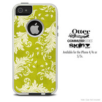 The Gold and White Vintage Floral Skin For The iPhone 4-4s or 5-5s Otterbox Commuter Case
