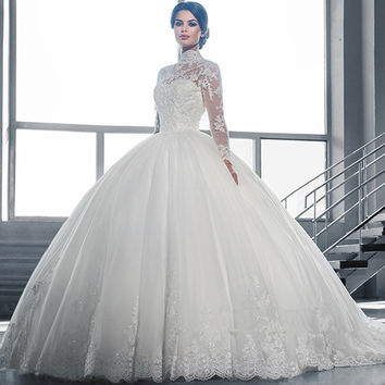 Wedding Dress Beautiful White Ball Gown Wedding Dress Lace Sheer Neckline Long Sleeve Tulle Wedding Dress Vestidos De Noiva 2016