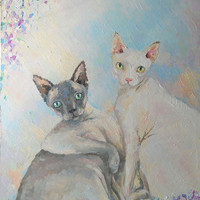 """Cats, Oil painting,""""Happy couple"""", Cats Painting, Pet Portrait, Cats Love, Made to Order, Impasto painting, Wall Decor, Cat Portrait, Lovers"""