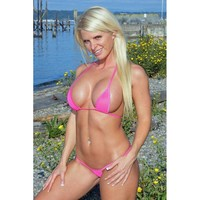 Solid Neon Pink Mesh Scrunch Butt 3pc Brazilian Bottom Triangle Top G-String See Through