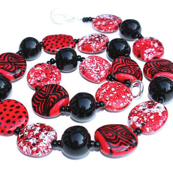 Kazuri Necklace, Ceramic Necklace, Red and Black Necklace, Holiday Gift, African Jewelry, Free Trade Beads, African Artistic Jewelry