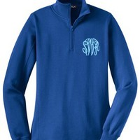 Monogrammed Royal Blue Pullover Sweatshirt