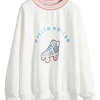 Pink Roller Skating Printed Striped Sweatshirt
