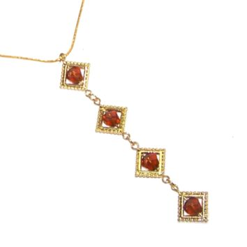 Antique Style Topaz Necklace, Long Topaz Pendant, Dramatic - Gold Chain & Long Bead Chain Pendant