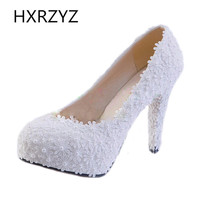 Women shoes handmade White Pearl Lace Flowers Wedding Shoes Women High Heel Single Shoes Fashion sexy Party Shoes pumps