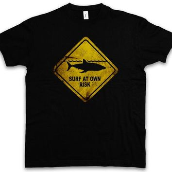 Surfing Surfer Slacker T-shirt Mens Cotton Tee Shirt Short Sleeve Shark Warning Sign T Shirt Surfer Surfinger Diver Taucher Jaws Tiger White Killer KO_12_1