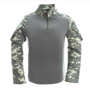 Hiking Shirt camping CS Shooting Tactical Camouflage Shirt With Elbow Pad Men Outdoor Hunting Training Paintball Army Combat Long Sleeve T-Shirt Tops KO_17_1