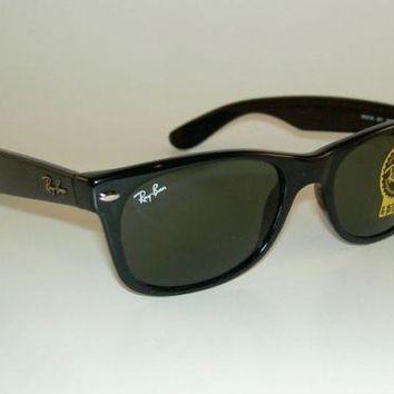 New RAY BAN Sunglasses Black WAYFARER RB 2132 901 G-15 Glass Green Lens 52mm