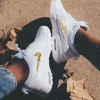 NIKE Air Max Thea Trending Diamond Women Men Shining Sequin B-H-RYXM-SF White+Gold Hook