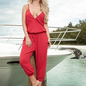Summer Red Jumpsuit Great for Resort Wear