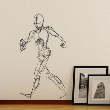 Vinyl Wall Decal Sticker Human Figure Sketch #1299