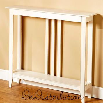 White Narrow Slim Space Saver Accent Table Wooden Hallway Entry Sofa Storage