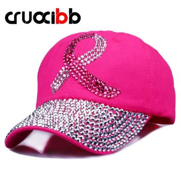 CRUOXIBB Crystal Baseball Cap for Women Breast Cancer Awareness Ribbon Hat  Rhinestone Caps Snapback Rivet New Hat 2017 Brand