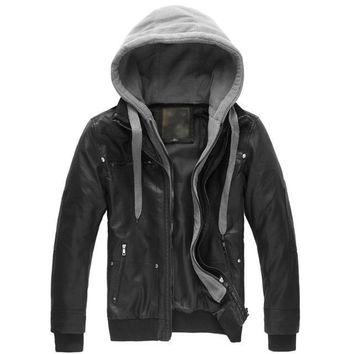Leather Jacket Male Motorcycle Jacket Polar Fleece HOOD Detachable PU Faux Leather Jacket Men Biker Jacket