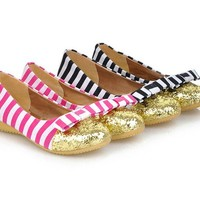 Stunning PU Leather Stripes Bowknot Blingbling Toe Design Wedge Shoes For Women
