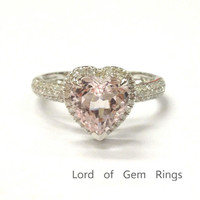 Heart Shape Morganite Engagement Ring Pave Diamond  Wedding 14K White Gold 8mm