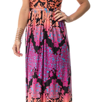 Peach and Purple Print Strapless Maxi Dress