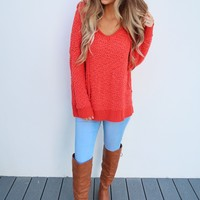 The Snuggle Sweater: Hot Coral