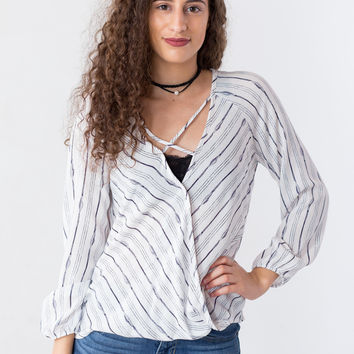 Vera Striped Faux-Wrap Top