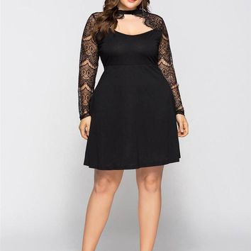 6XL Womens Summer Black Lace Dresses Crew Neck A Line Knee Length Female Clothing Fashion Plus Size Casual Apparel