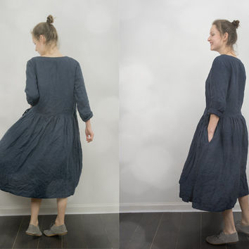 Navy Blue Linen Wrap Dress / Jacket