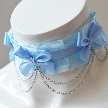 Kitten play collar - Lovely skies - ddlg little satin princess choker - kawaii cute fairy kei harajuku costume cosplay sweet lolita pastel